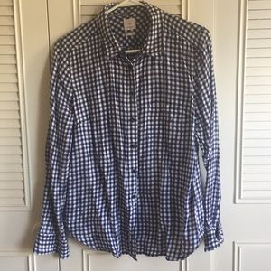 GAP Navy Gingham Button Up Shirt, Sz L